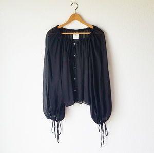 Dolce & Gabbana Black Sheer Balloon Sleeve Blouse